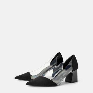 Zara black with clear vinyl high heel suede shoes